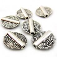 Tibetan Silver 15mm Disc Beads (Pack 6)