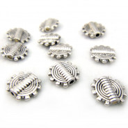 Tibetan Silver 9.5mm Cog Disc Beads (Pack 10)