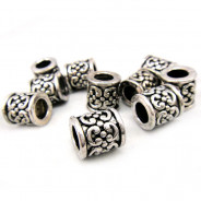 Tibetan Silver 11mm Tube Beads (Pack 10)