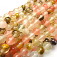 Mixed Colour Cherry Quartz 6mm Round Beads