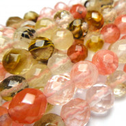 Mixed Colour Cherry Quartz 8mm Faceted Round Beads
