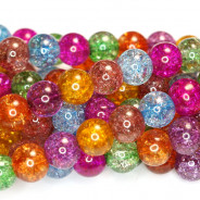Cracked Glass Multi Colour 8mm Round Beads