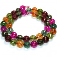 Cracked Glass Multi Colour 10mm Faceted Round Beads