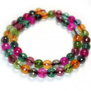 Cracked Glass Multi Colour 8mm Faceted Round Beads