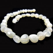 Moonstone Light Grey Polished Nugget Beads