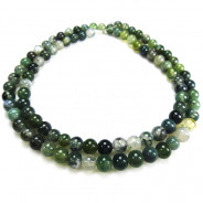 Moss Agate 4mm Round Beads