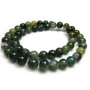 Moss Agate 8mm Round Beads