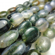 Moss Agate 12x14mm Oval Beads