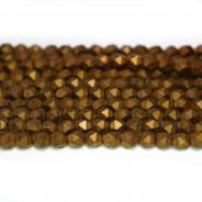 Matte Copper Hematite 4x4mm Diamond Cut Beads