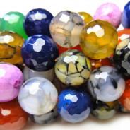 Fire Agate Multi-Colour 10mm Faceted Round Beads