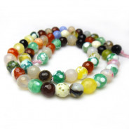 Fire Agate Multi-Colour 6mm Faceted Round Beads
