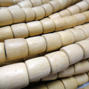 Natural White Wood 10x10mm Barrel Beads - Waxed