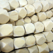 Natural White Wood 12mm Diamond Cut Wood Beads