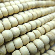 Natural White Wood 4x5mm Pokalet Wood Beads (Waxed)