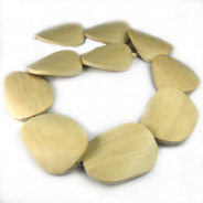 Natural White Wood Large Flat Twisted Wood Beads