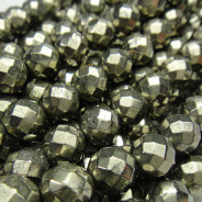 Pyrite 6mm 64 Faceted Round Beads