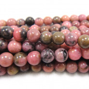 Rhodonite Black Veined 4mm Round Beads