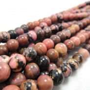 Rhodonite Black Veined 6mm Round Beads