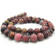 Black Veined Rhodonite 8mm Round Bead