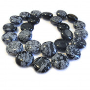 Snowflake Obsidian 16mm Coin Beads