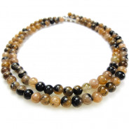 Staurolite (Chiastolite) 4mm Round Beads