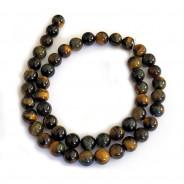 Blue & Yellow Tiger Eye 8mm Round Beads