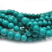 Stabilised Turquoise 6mm Round Beads