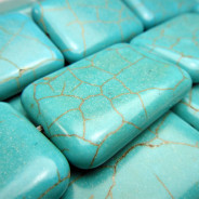 Reconstituted Turquoise Large Rectangle Beads