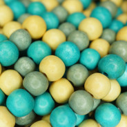 Natural White Wood Mixed Colour Beads - Turquoise, Celadon and Natural