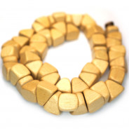 Natural White Wood Triangle Nugget Beads (Waxed)