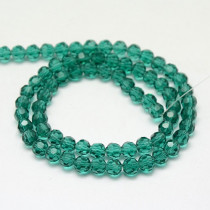 Teal 8mm Faceted Round Glass Beads