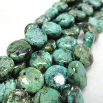 African Turquoise 10mm Coin Beads