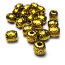 Tibetan Style Antique Gold 6mm Bead