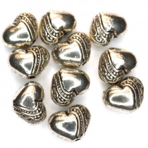 Tibetan Style 7x5x5mm Heart Shaped Beads (Pack 10)