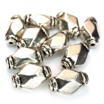 Tibetan Silver Rhombus 12x7x5mm Beads (Pack 10)