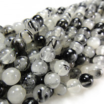 Black Rutilated Quartz 6mm Round Beads
