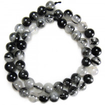 Black Rutilated Quartz 8mm Round Beads