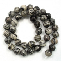 Black Veined Jasper 10mm Round Beads
