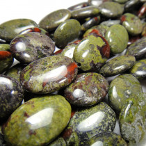 Bloodstone 13x18mm Puffy Oval Beads