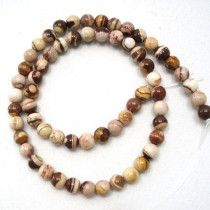 Brown Zebra Jasper 6mm Round Beads
