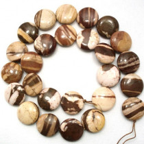 Brown Zebra Jasper 16mm Coin Beads