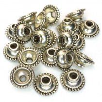 Tibetan Silver 10mm Bead Caps (Pack 20)