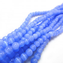 Cats Eye Light Blue 4mm Round Beads