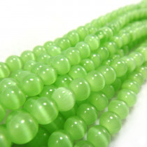 Cats Eye Light Green 6mm Round Beads