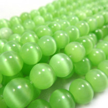 Cats Eye Light Green 8mm Round Beads