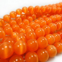 Cats Eye Orange 8mm Round Beads