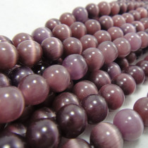 Cats Eye Deep Purple 8mm Round Beads