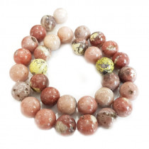 Cherry Blossom Jasper 12mm Round Beads