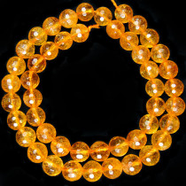 Citrine 8mm Faceted Round Beads