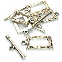 Tibetan Silver Rectangle Toggle & Bar Clasps (Pack 5)